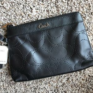 COACH Perforated Leather Wristlet